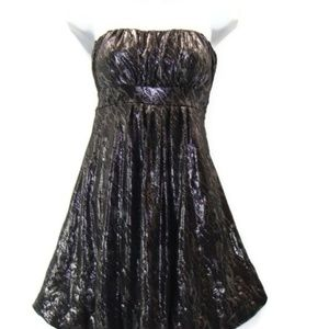 Mystic Silver and Black Strapless Dress